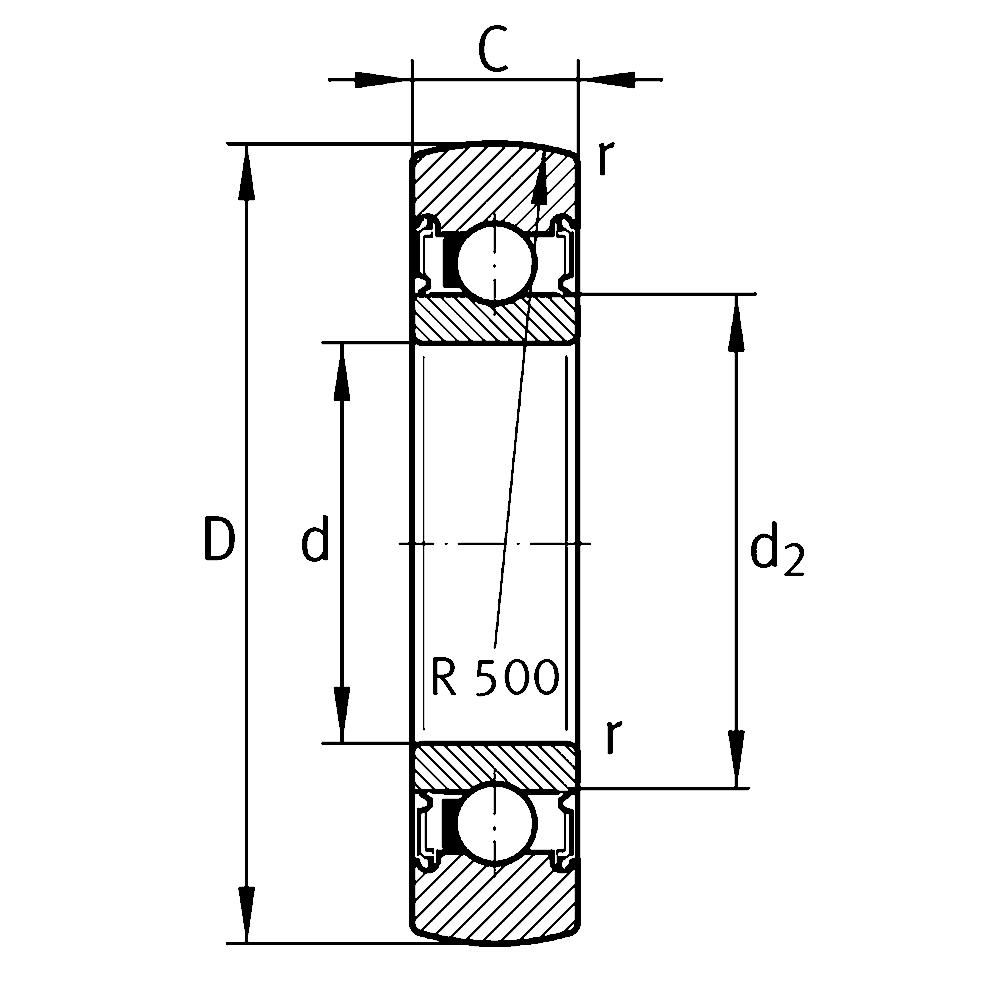 Однорядный шариковый подшипник 61822 2RSR-Y