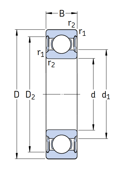 Высокотемпературный подшипник 61908 2RS1/C3 GJN