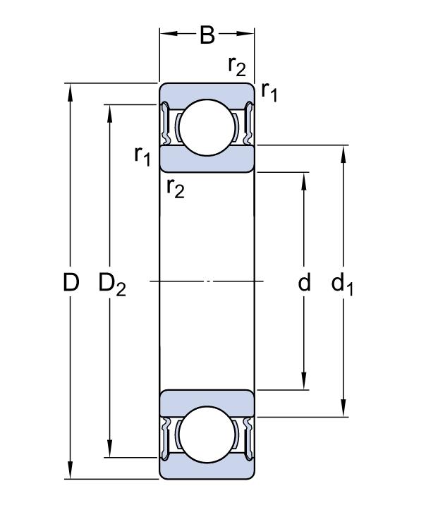 Однорядный шариковый подшипник 6311 2RS1/C3
