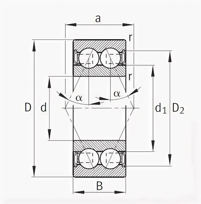 Двухрядный шариковый подшипник 3008 2RS