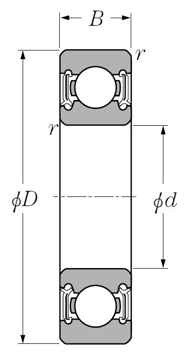 Однорядный шариковый подшипник 6020 LLU C3