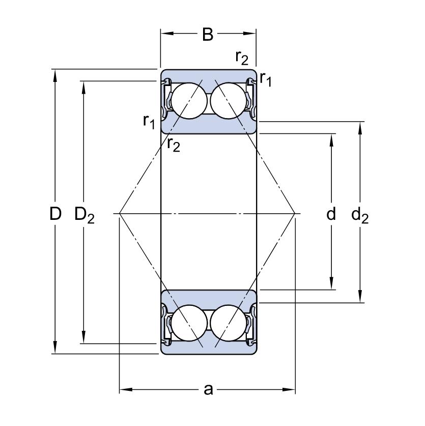 Двухрядный шариковый подшипник 3306 A2RS1TN9/C3MT33