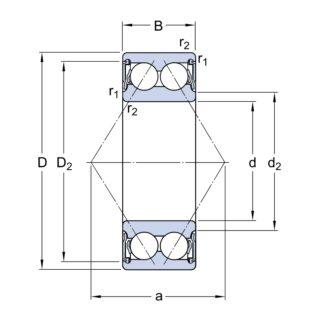 Двухрядный шариковый подшипник 3208 A-2RS1/C3LVT114F7