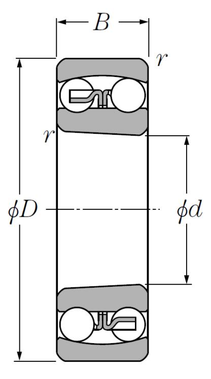 Двухрядный шариковый подшипник 2215 K TVH C3
