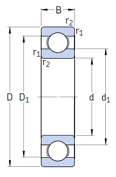 Однорядный шариковый подшипник 6214/C3