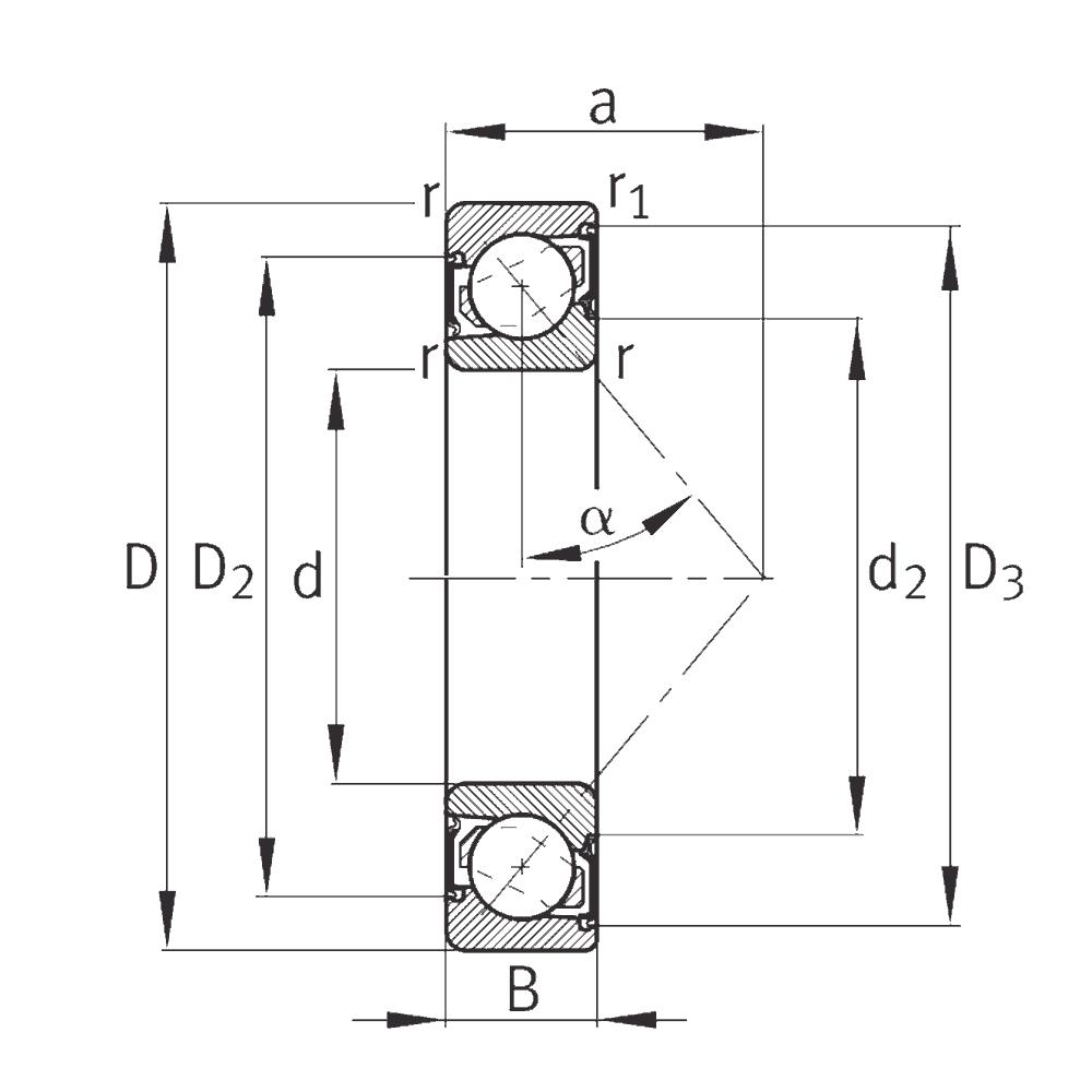 Однорядный шариковый подшипник 7308 B 2RS TVP/L237