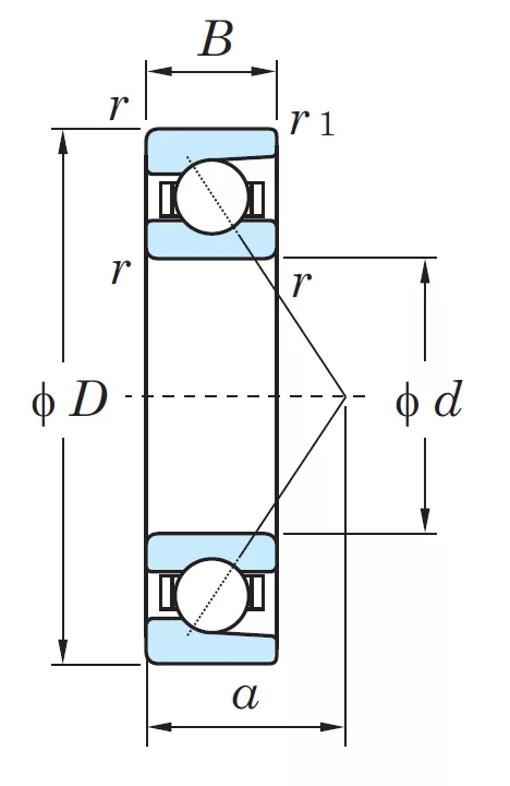 Радиально-упорный однорядный шариковый подшипник 46217 Л 7217 ACМ