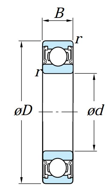 Однорядный шариковый подшипник 6220 2RS C3