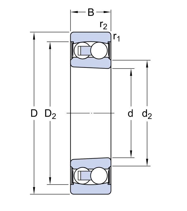 Радиальный двухрядный шариковый подшипник 2207 K 2RSTNG C3