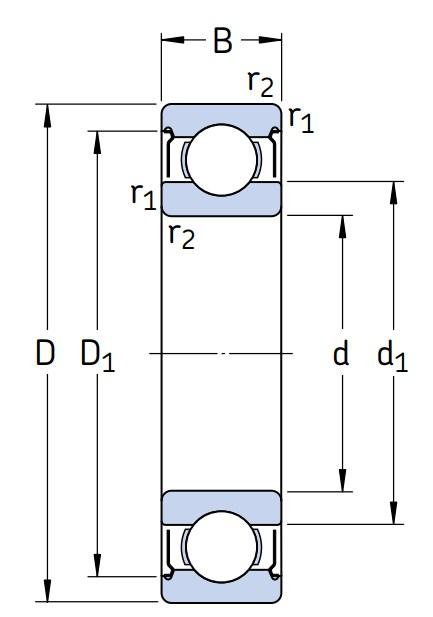 Однорядный шариковый подшипник 6215 2Z/C4