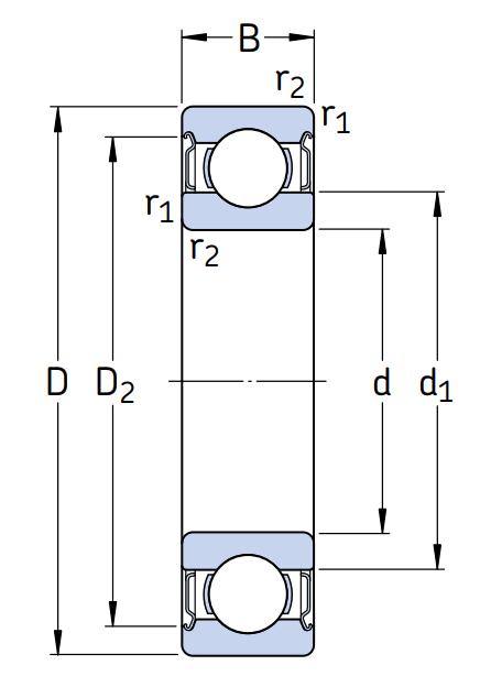 Шариковый радиальный подшипник 6001 2Z/C3 GJN