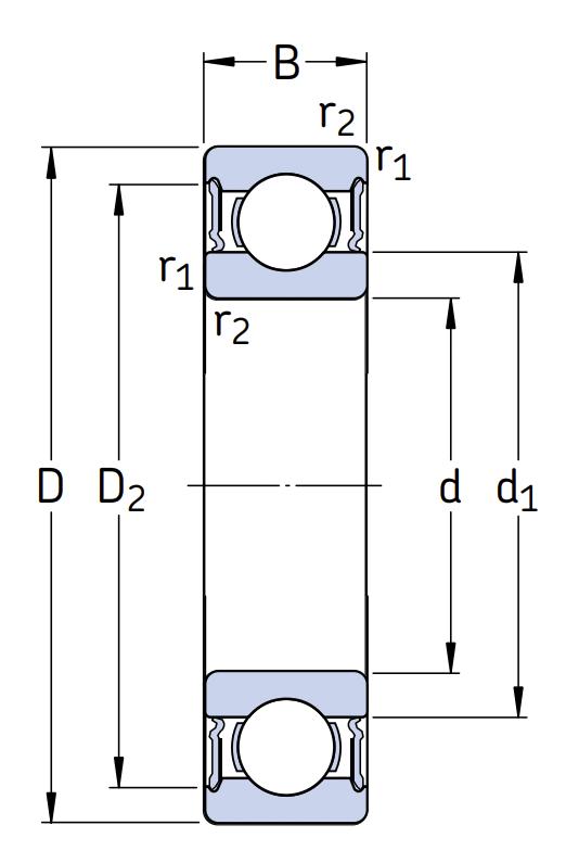 Высокотемпературный подшипник 6209 2RS1/C3 GJN