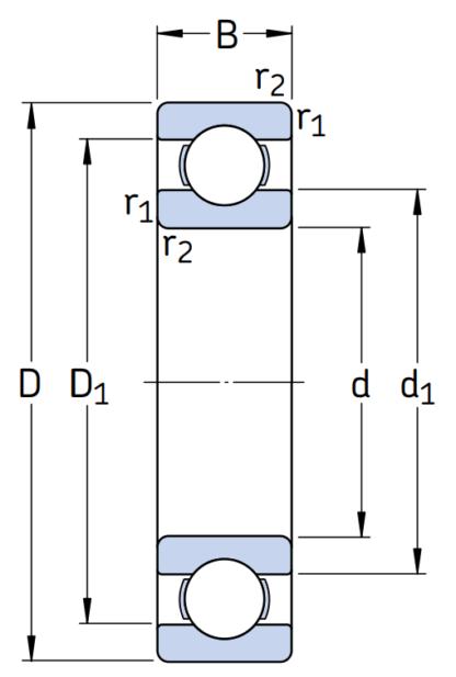 Однорядный шариковый подшипник 6226 C3