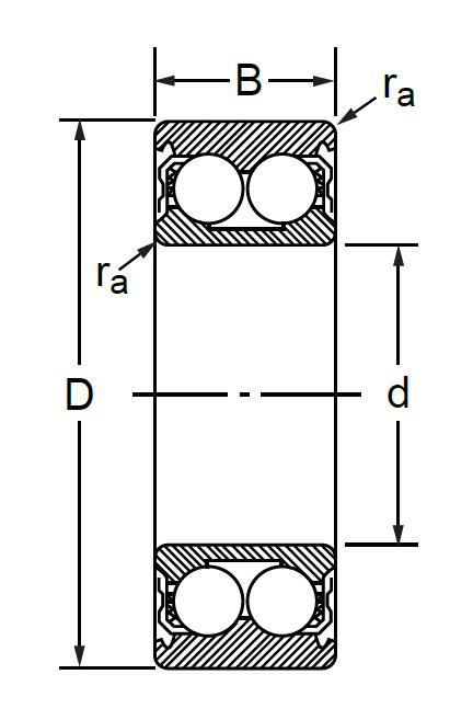 Радиально-упорный двухрядный шариковый подшипник 6-3056214 Л