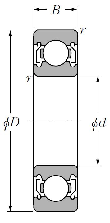 Однорядный шариковый подшипник 6024 ZZ