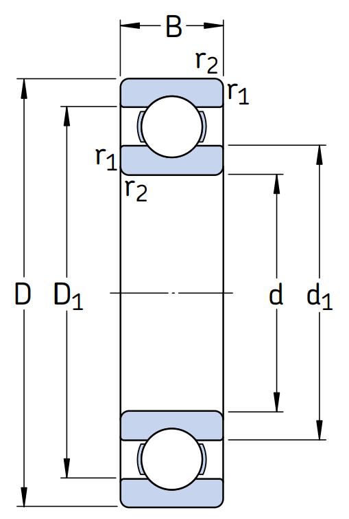 Однорядный шариковый подшипник 6211 C3