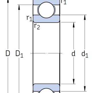 Однорядный шариковый подшипник 6210/C4
