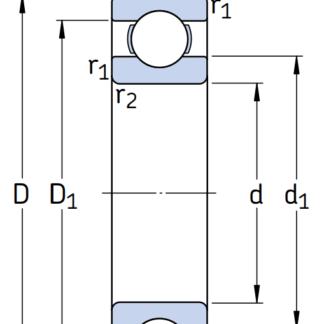 Однорядный шариковый подшипник 6216-C4