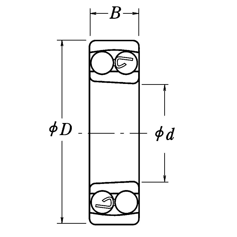 Двухрядный шариковый подшипник 1211 K C3
