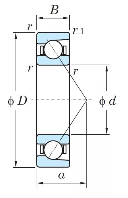 Радиально-упорный однорядный шариковый подшипник 46220 Л 7220 ACМ