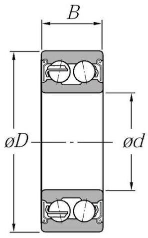 Двухрядный шариковый подшипник 3207 BD XL 2Z TVH