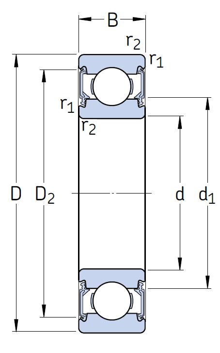Однорядный шариковый подшипник 6209 2RU CM