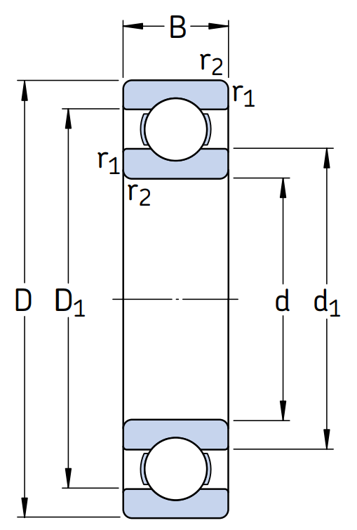 Однорядный шариковый подшипник 6226 C3 E