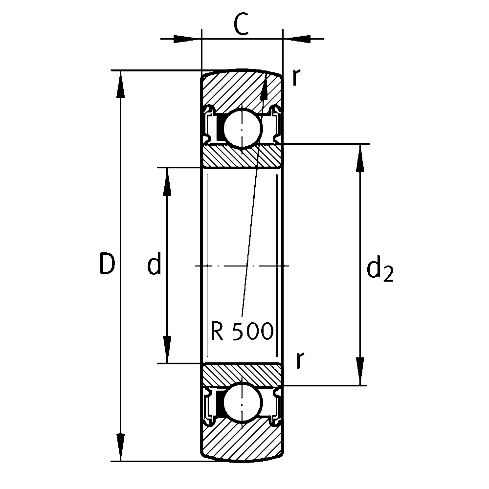 Однорядный шариковый подшипник 61816 2RSR Y