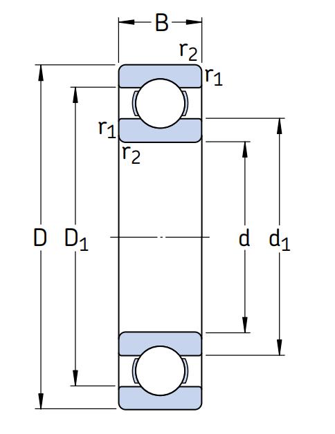Однорядный шариковый подшипник 6316 C3