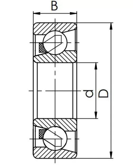 Радиально-упорный шариковый подшипник 6-46316 Л
