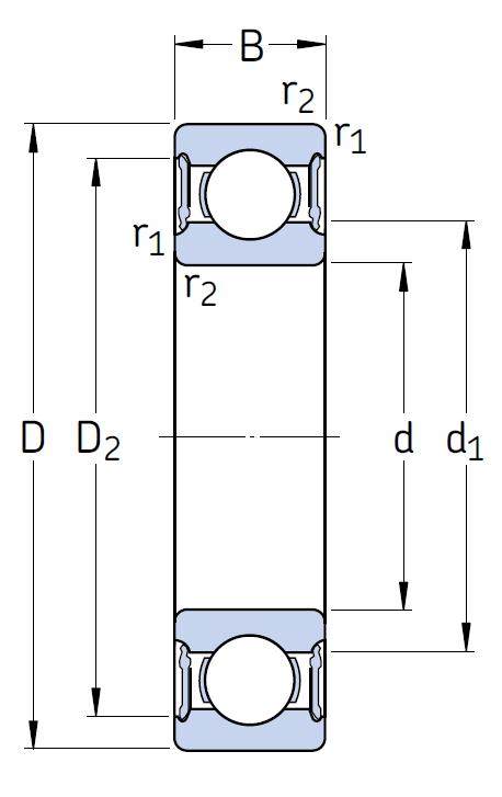 Однорядный шариковый подшипник 62210 2RS1/C3