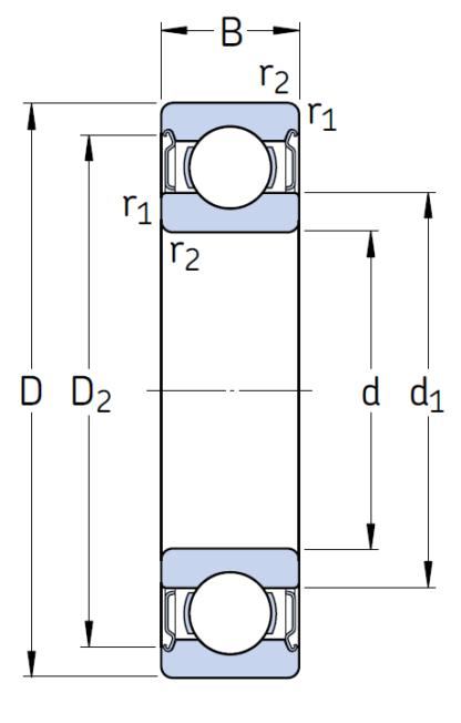 Однорядный шариковый подшипник 6011 2Z NRJEM