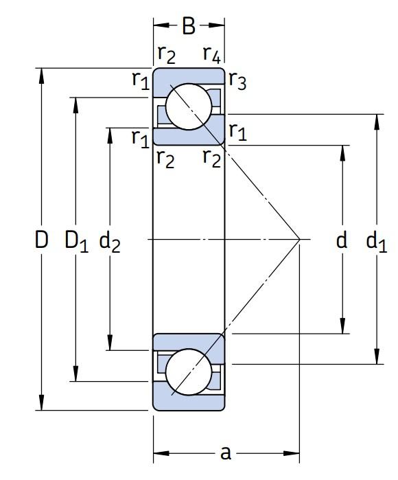 Однорядный шариковый подшипник 7309 BECBM