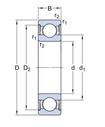Однорядный шариковый подшипник 6312 2RS1/HC5C3WT