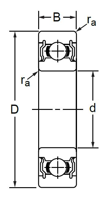 Однорядный шариковый подшипник 180209 Ю SS 6209 2RS
