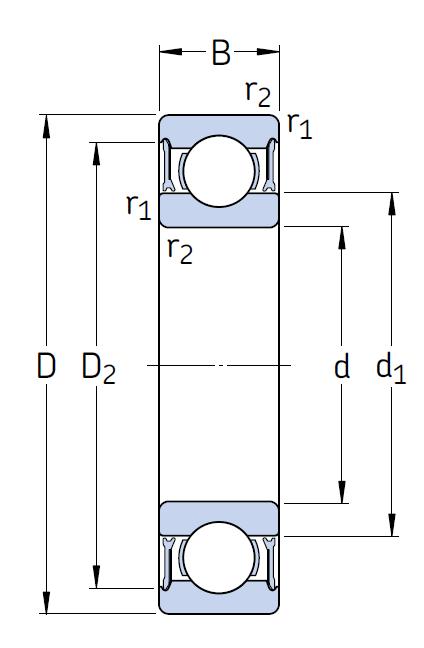 Однорядный шариковый подшипник 6308-2RZ