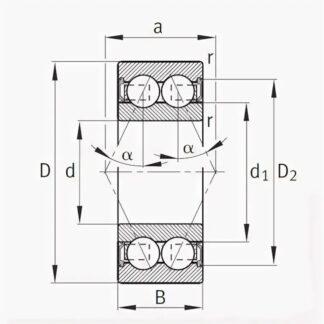 Радиально-упорный двухрядный шариковый подшипник 3056212 2RS 3212 A2RSTN