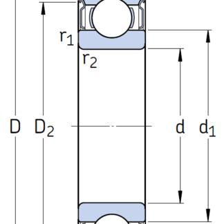 Однорядный шариковый подшипник 6209 2Z/C5