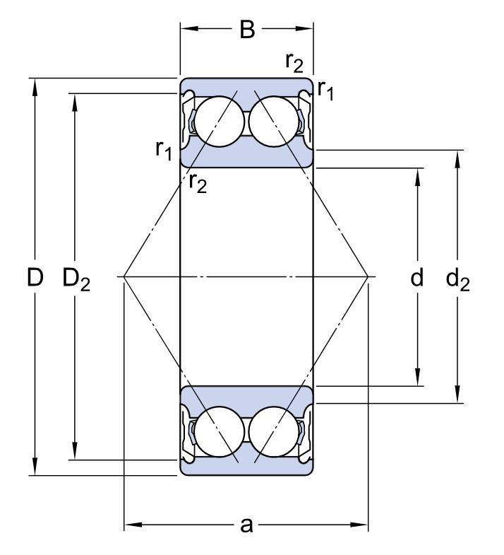 Двухрядный шариковый подшипник 3207 A 2Z/C3MT33