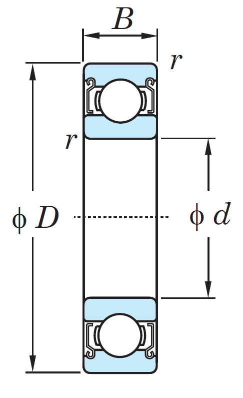 Однорядный шариковый подшипник 6817 ZZ