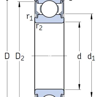 Однорядный шариковый подшипник 6214 2RS CM