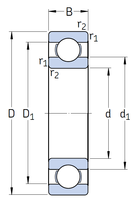 Однорядный шариковый подшипник 6026