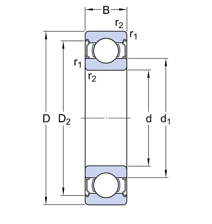 Однорядный шариковый подшипник 6314 2Z/C3