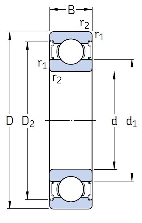 Однорядный шариковый подшипник 6032 2Z