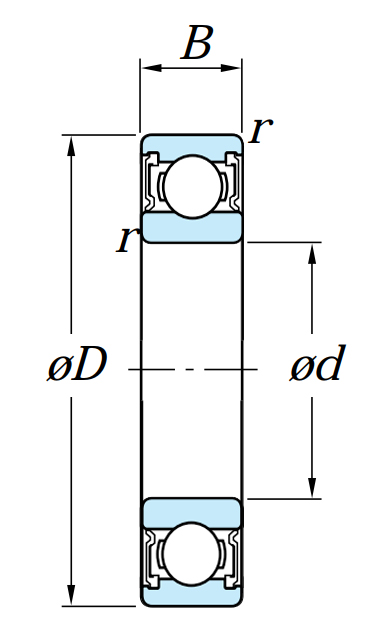 Однорядный шариковый подшипник 6216 LLU C3