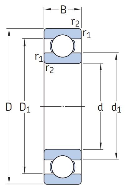 Однорядный шариковый подшипник 6038 M/C3