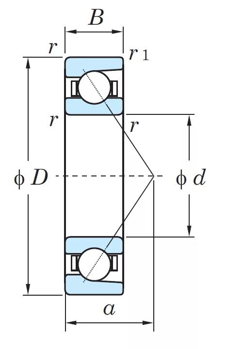 Радиально-упорный однорядный шариковый подшипник 46416 Л 7416 АСМ