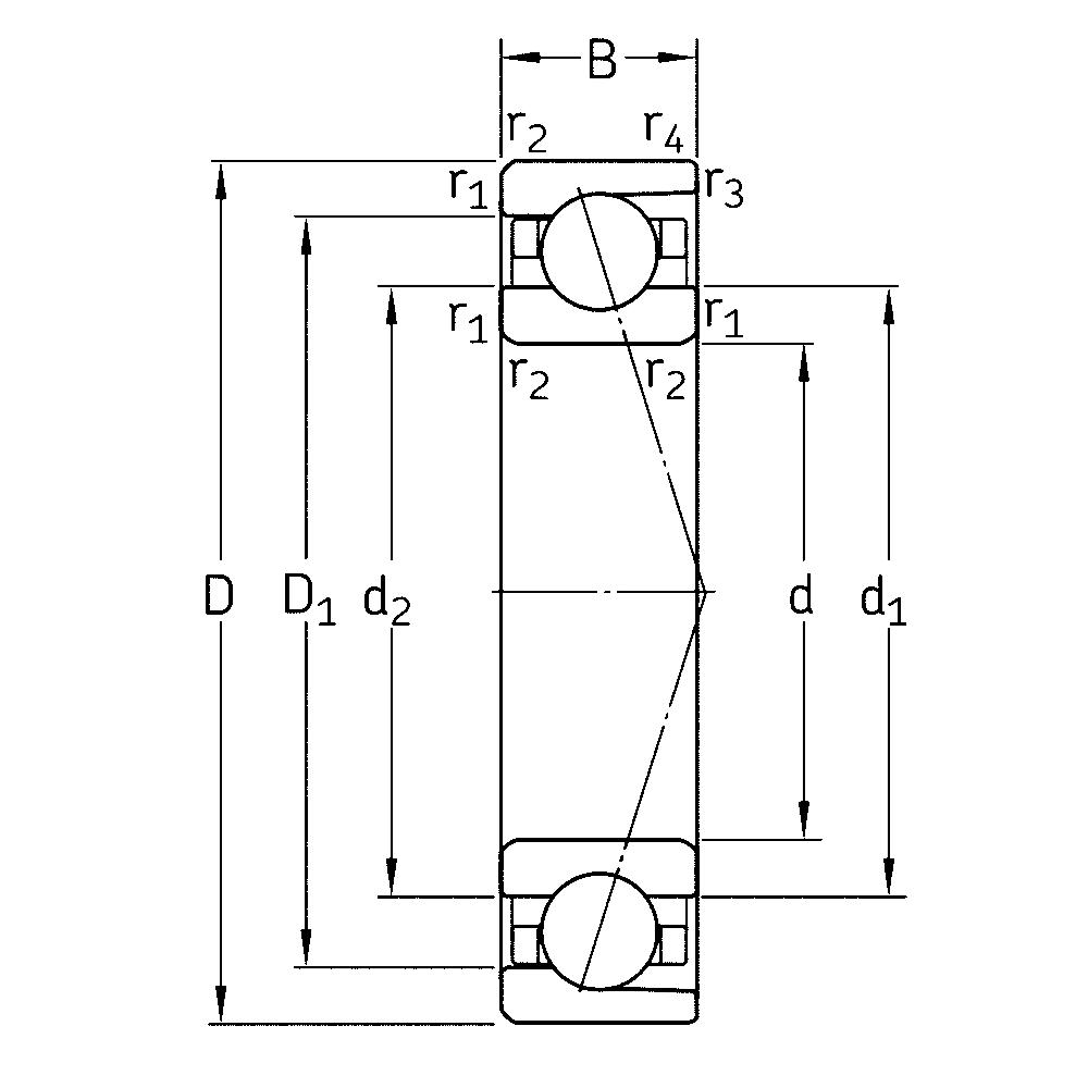Радиально-упорный шариковый подшипник 7200 CD/HCP4A