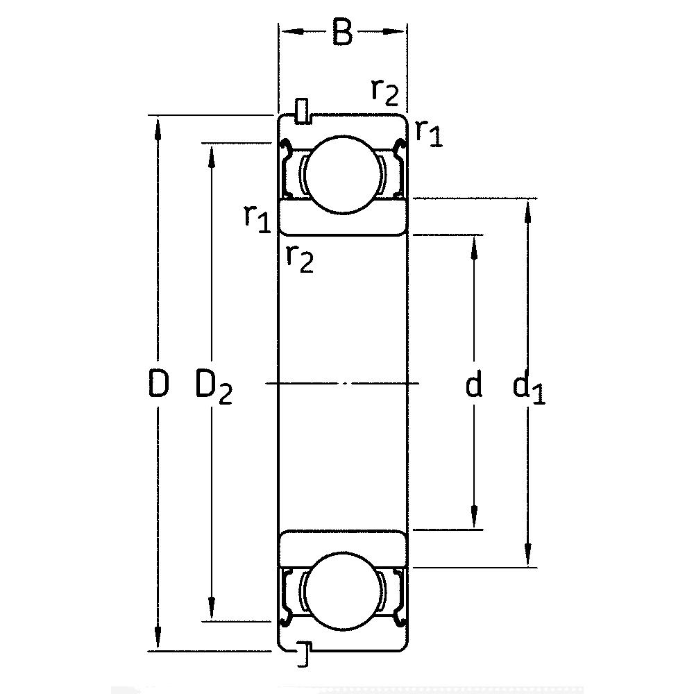 Однорядный шариковый подшипник 6213 DDU NR