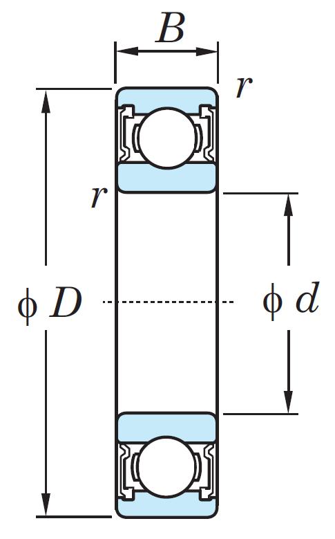 Однорядный шариковый подшипник 6808 JRLLU/2AS